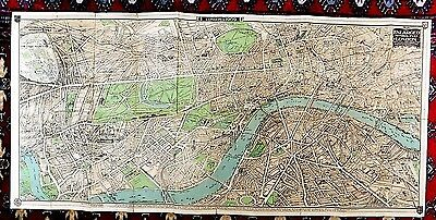 1909 Pictorial Plan Map London Chas Baker Large 96x45 Old Antique Imperial Exhib