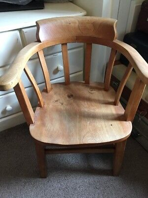 Antique Oak Captains Chair. Bow Chair. Elbow Chair