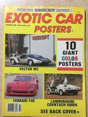 Exotic Car Posters October 1988 Ashley Series 10 Poster Magazine