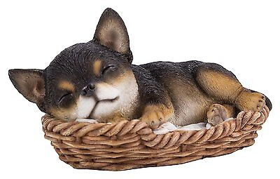 Chihuahua Puppy in Wicker Basket Pet Pals Collectible Dog Figurine 6.5 Inches L