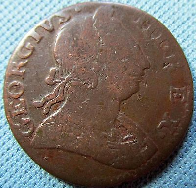 1775 King George III British US Colonial Copper Halfpenny - Historic NonRegal