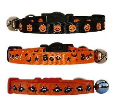 Black Orange   HALLOWEEN pumpkin boo or spiders   safety kitten cat collar bell
