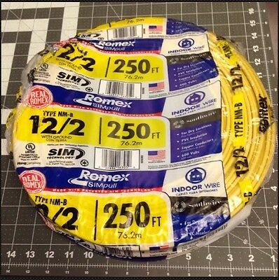 Romex Electric Copper Wire 250' New Roll 12-2 AWG NM-B Romex Cable