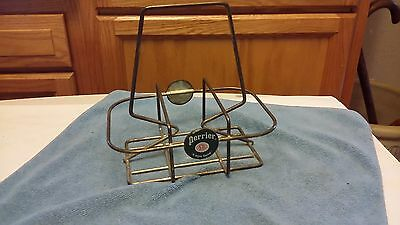 Vintage Perrier Water Advertising 6 Bottle Wire Carrier