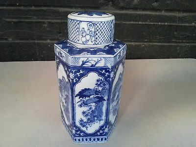 """Chinese Hexagonal Blue and White Porcelain  Vase 8 """" tall with round Lid"""