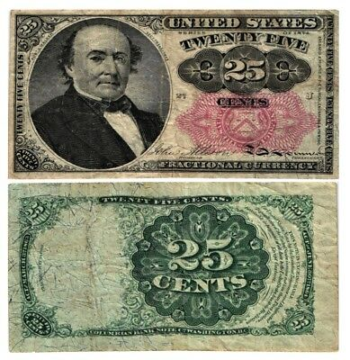 1874-76 25 CENT U.S Fractional Currency 5th Issue ROBERT WALKER Fr#1308 FINE