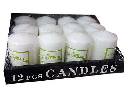 Set 12 Pezzi Candele Cera Profumate Fragranza Gelsomino Bianche 98g dfh