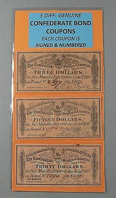 3 DIFFERENT 1864 Genuine Confederate Bond Coupons - $3.00, $15. AND $30. COUPONS