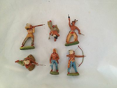 A192/  6 x Hausser Elastolin Indianer Wildwest Figuren von ca. 1935/55 /TOP