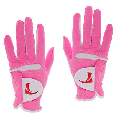 One Pair Womens Golf Gloves Super Fibre Cloth Breathable Gloves Pink