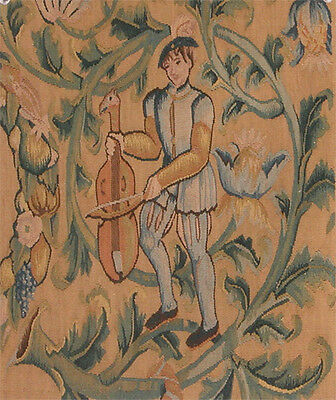 Antique method tapestry fragment featuring a male figure with cello in gold