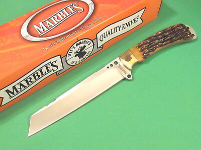 "MARBLES MR241 Brown jigged bone full tang fixed blade knife 10"" overall NEW!"