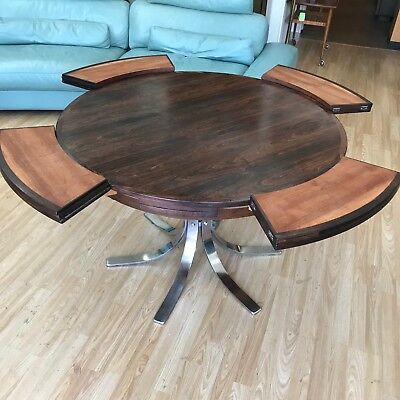 Dyrlund Rosewood Danish Modern Flip Flap Table On Chrome Steel Base