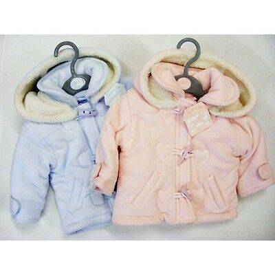 Baby Warm Winter Duffle Coat Jacket Pink or Sky Blue by Rock A Bye baby AW'17