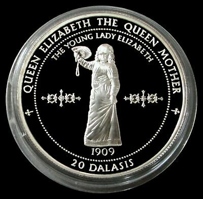 1996 Silver Proof The Gambia 20 Dalasis Queen Elizabeth The Queen Mother Coin