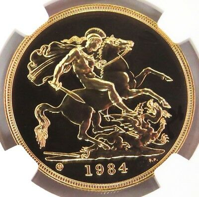 1984 Gold Great Britain 5 Pounds St. George Coin Ngc Mint State 69 Proof Like