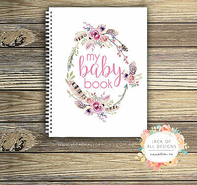 Baby Record Book - Girl - Floral Watercolour