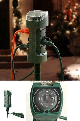 Power Stake Strip Cord Outdoor Lighting Outlet Timer Dust Dawn Patio Garden  Lawn