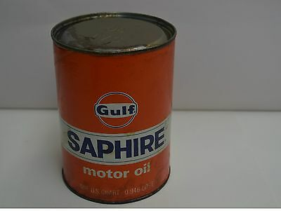 "Vintage Gulf Saphire Motor Oil 1 Quart - 0.946 Litre Metal Can, Full 5 1/2"" H."