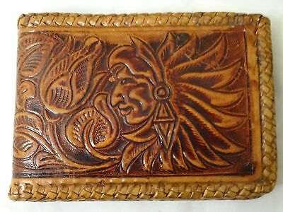 Vintage Tooled Leather Wallet Billfold Cognac Hand Made Indian Chief