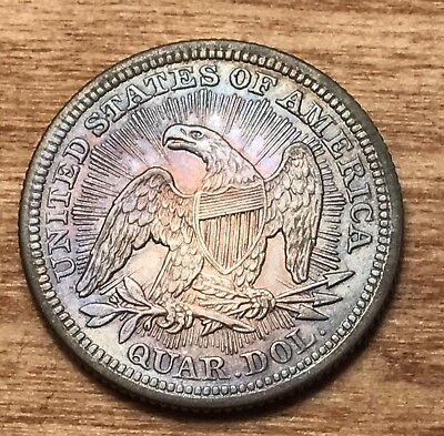 1853 Seated Liberty Quarter, Arrows And Rays, Toned Unc