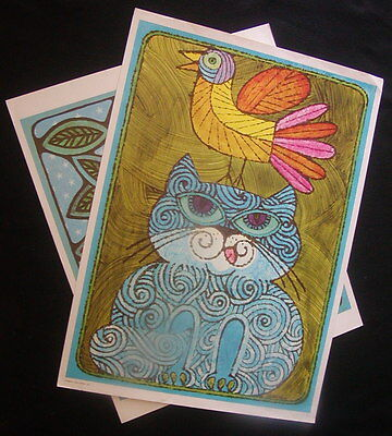 TWO colorful and fun prints - great for a child's room - suitable for framing
