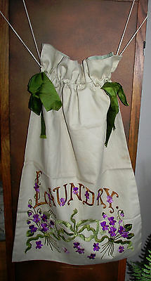 Antique Society Silk Embroidery Violets Silk Ribbon Bows Laundry Bag Drstring Nu
