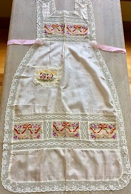 Vintage 1919 EDWARDIAN Apron Pink Silk Embroidery Antique WWI Souvenir De France