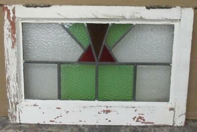 "OLD ENGLISH LEADED STAINED GLASS WINDOW Radiant Pretty Geometric 20.5"" x 13.5"""