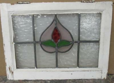 """OLD ENGLISH LEADED STAINED GLASS WINDOW Pretty Floral Heart 22"""" x 16.25"""""""