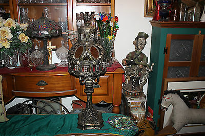 Vintage Arabic Islamic Medieval Gothic Table Lamp-Slag Glass-LARGE-Candelabra-#2