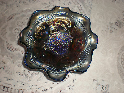 Carnival Glass Blue Horse Heads Medallion Footed Bowl
