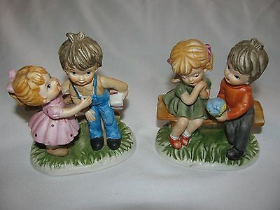 Girl & Boy Collectible Figurines Mixed Lot of 2 Estate Find Signed Korea EUC