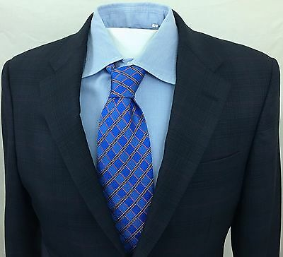 HICKEY FREEMAN Men's Sport Coat DARK BLUE Windowpane 38S 100% Wool