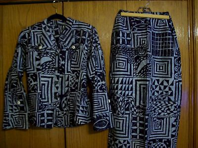 Pre-owned Handmade African Cotton Suit~Jacket & Skirt~Great Graphics!