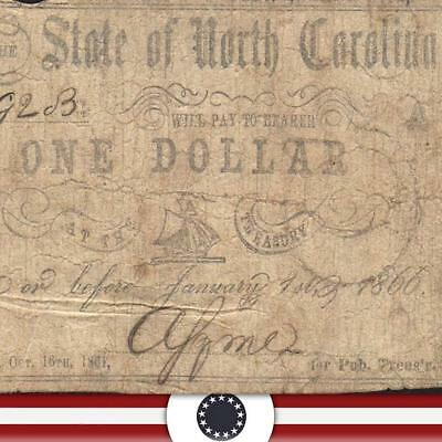 1866 $1 State of NORTH CAROLINA Obsolete Currency