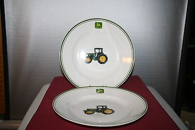 2 John Deere Green Trim 11 inch Plates with Tractors Gibson