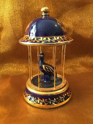 Vintage Collectable Genuine Signed Limoges Gold Gilt Cobalt Blue Bird in Cage