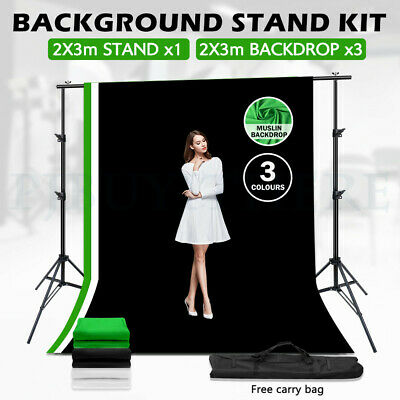 Photo CHROMAKEY GREEN Screen Studio 3x3.6m Backdrop Background Support Stand Kit