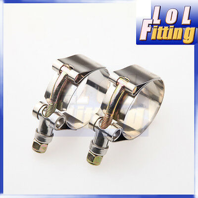 "2PCS 2.75"" inch Turbo Pipe Hose Coupler T-bolt Clamps Stainless Silver 73/81mm"
