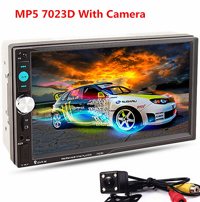 """Car MP5 Media Player with Rear Camera 7"""" Touch Screen 2 DIN Bluetooth FM Radio"""