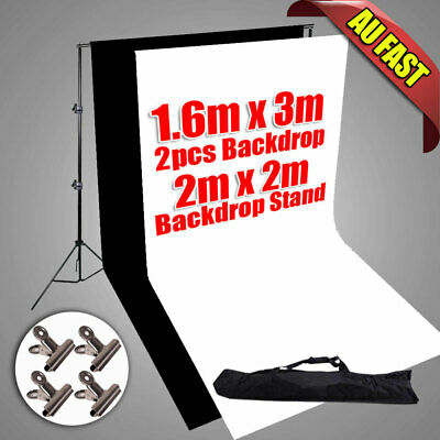 Background Stand Kit Set Photography Photo Studio Black White Backdrop 4 Clamps