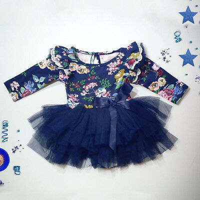 US Stock Newborn Baby Girls Long Sleeve Romper Bodysuit Playsuit Clothes Outfits