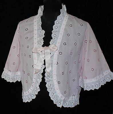 rockabilly retro vintage LADIES BED JACKET embroidered cotton ENGLAND satin bows