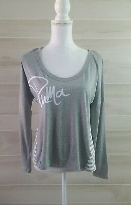 Puma Graphic Print Long Sleeve Tee Shirt Gray Women's Size Medium