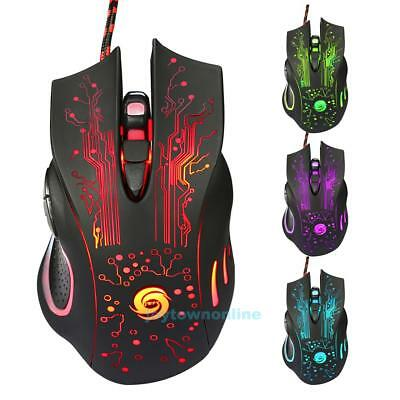 Gaming Maus 3200DPI 6 Tasten LED Beleuchtung Optisch USB Wired Pro Gamer Mouse