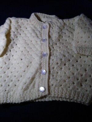 """Vintage Hand Crocheted Baby Cardigan Sweater-Pale Yellow-22"""" Chest/10""""Long-Unwor"""