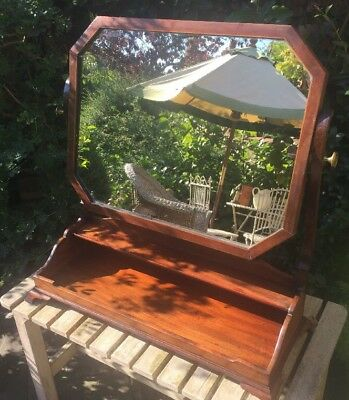 Antique wooden bevelled dressing table mirror