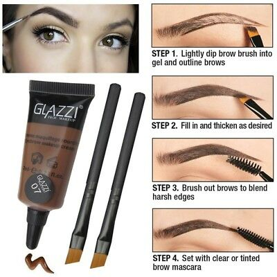 GLAZZI  dyed eyebrow ointment cream with brush eyebrow pencil NEW HOT