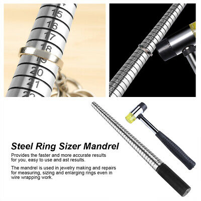 Steel Ring Mandrel Mallet Sizer Jewelry Making Forming w/ Hammer Tool 3 Types HG